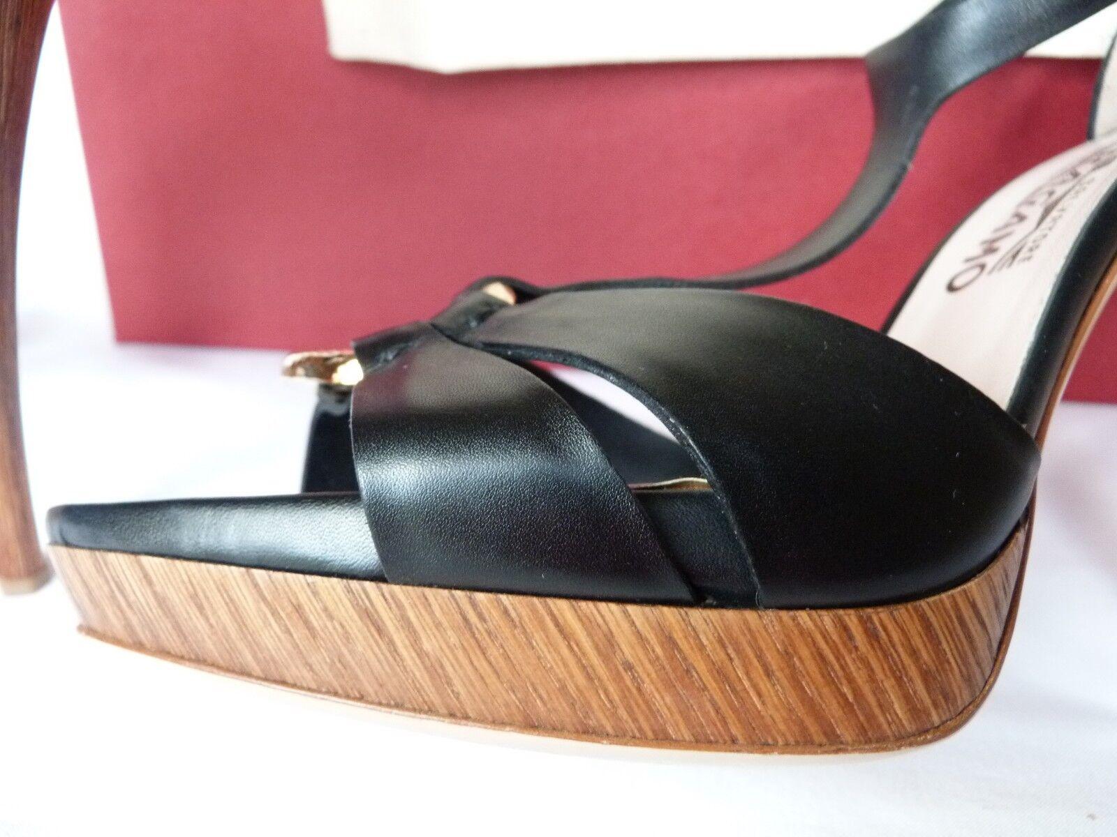En Caja Salvatore Ferragamo Plataforma Negro Cuero T Bar Plataforma Ferragamo Tacones Talla 8.5 Reino Unido 6 2ffcb0