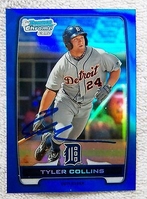 Detroit Tigers Tyler Collins Signed  2012 Bowman Blue Refractor Auto Card #/250