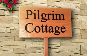 Personalised-Oak-house-sign-Carved-Custom-outdoor-wooden-name-plaque-with-post