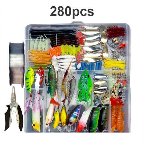 33-280pcs Fishing Lures Metal baits Tackle Box Kit Crankbait Hooks Fish Tool Set