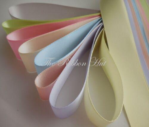 25 mm largeur 8 pièces x 1 mètre long Double Ruban Satin Couleurs pastel