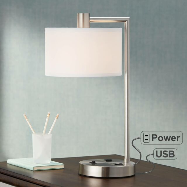 Modern Desk Lamp With Usb Outlet Brushed Nickel Drum Shade For Office Table