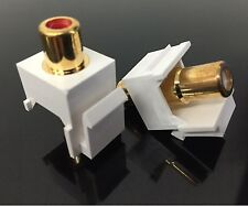 2 Pcs RCA Keystone Insert Female/Female Coupler Cable, ( White & Red )