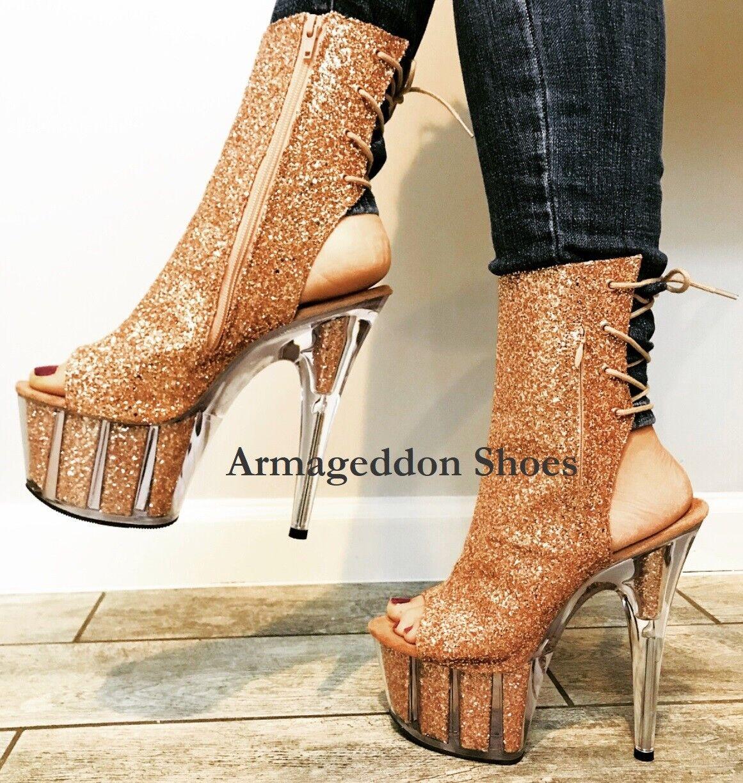 7  or Rose Paillettes Clair Jumbo Platform Strip-teaseuse talons POLE DANCE chaussures adore