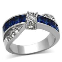 1.75ct Montana Blue Sapphire & Cz Stainless Steel Princess Cut Women's Ring