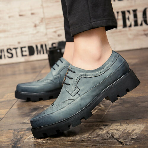 Details about  /Vogue Mens Pumps Lace Up Round Toe Flat Heel Formal Dress Solid Casual Shoes New