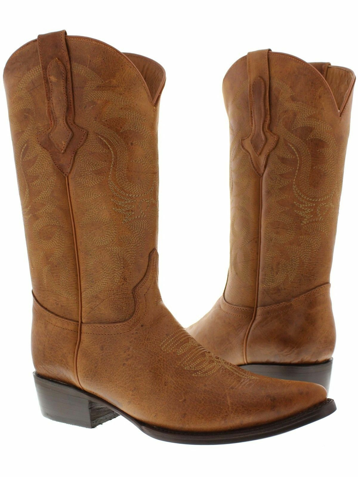 Mens Original Cognac Full Plain Leather Western Cowboy Boots