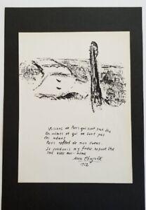 Marc-Chagall-034-The-Seine-Bridges-034-Mounted-Lithograph-9-039-039-x-13-039-039-1968-b-w-Sketch