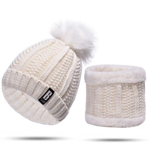 Damen Wintermütze Bommel Mütze Set Kunstfellbommel Strick Schal Beanie Skimütze