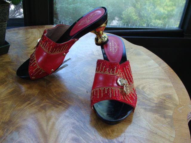 Grande Gaeller Open Toe Red   gold Sandal Women's shoes Size EUR 39