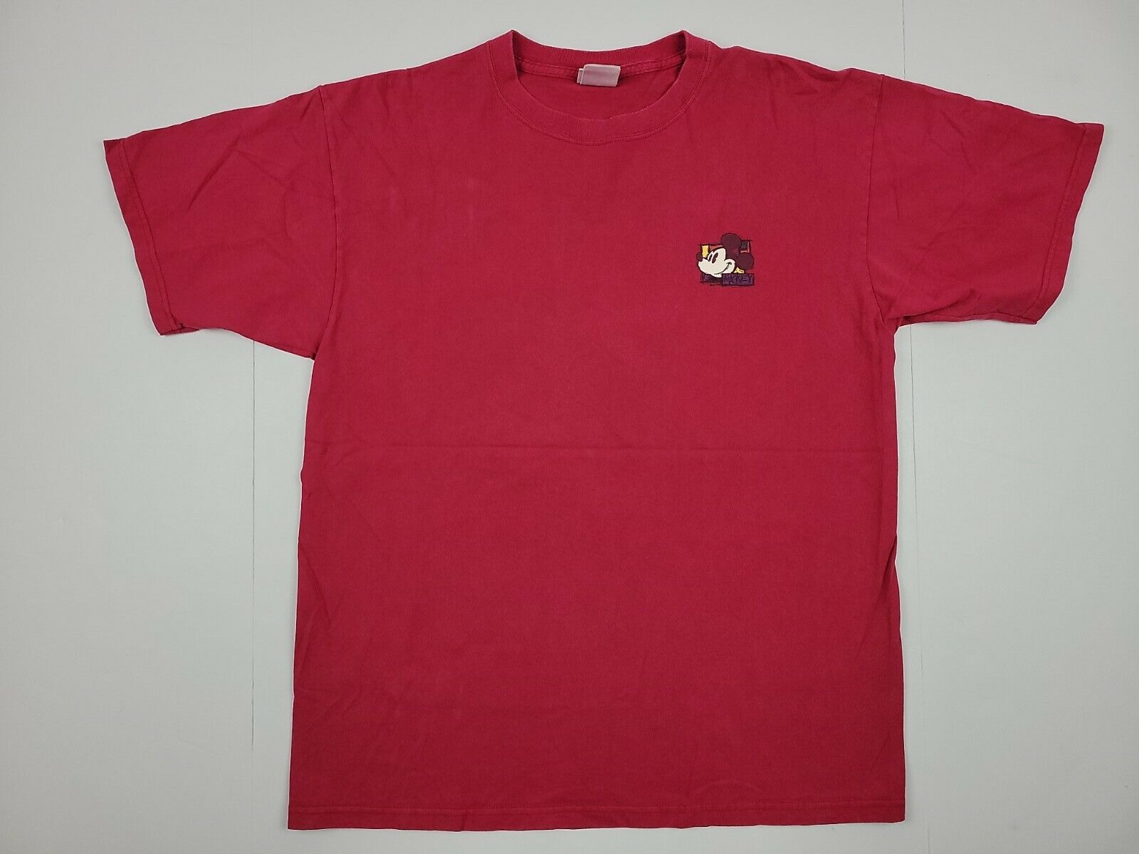 The Disney Store Mickey Mouse Vintage 90s Shirt Large L Red Cotton Paint Style