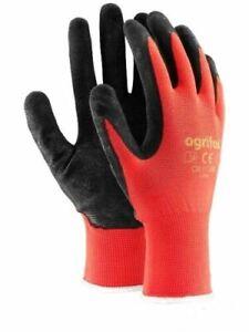 Ogrifox RED NYLON LATEX GRIP Safety Work Gloves Builders Gardening Mechanic