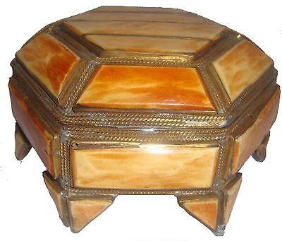 Moroccan Camel Bone Jewelry Box 29  Brass Octagon Henna Inlaid GREAT GIFT IDEA