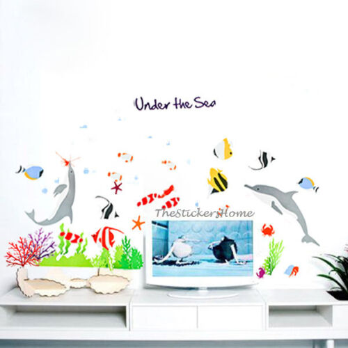 Reusable Under The Sea Fish Dolphin Wall Stickers Bathroom Nursery Tile Decals