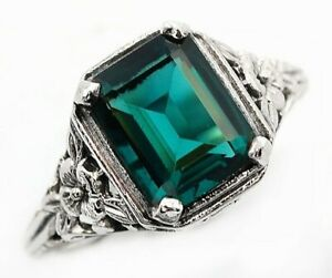 3CT-Apatite-925-Solid-Sterling-Silver-Edwardian-Look-Ring-Jewelry-Sz-9-U-34