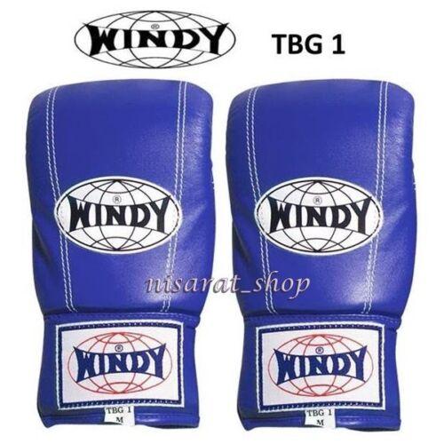 WINDY BAG GLOVES TBG1 M L XL RED BLACK WHITE BLUE MUAY THAI MMA CLOSE THUMB