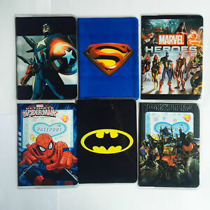 SUPER-HEROES-Childrens-Passport-Cover-Case-Protector-Holder-Kids-NEW-DESIGNS