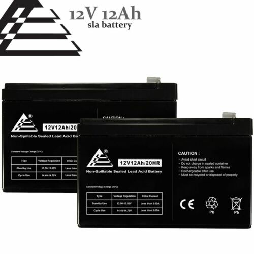 Set of 2- 12v 12Ah SLA Lead Acid Batteries for RBC4 RBC6 BP1000 replaces UB12120