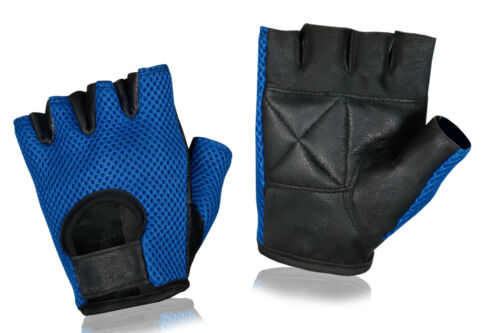 Half Finger Cycling Gloves Cycle Bicycle Real Leather Mesh Weight Lifting Gym