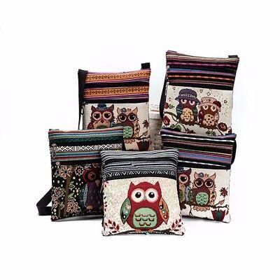 Women Lovely Embroidered Owl Linen Shoulder Bag Handbags Postman Package