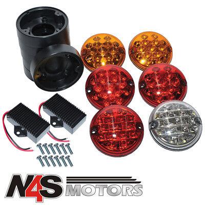 2 RDX LUX LED NAS Fog /& Reverse Kit Lights Plinths LandRover 90//110 Defender