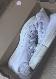 White leather high top Converse all