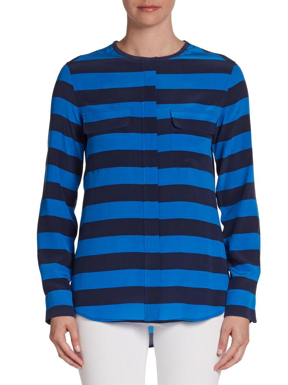 Equipment Navy Blau Lynn Striped Silk Shirt Blouse Top Größe L 12 14 NEW