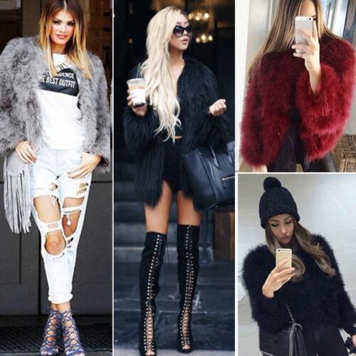 Women Winter Fuax Fur Coat Jacket Winter Outwear Sweater Shawl Plus Overcoat