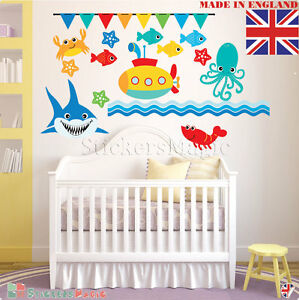 06a683d52d Under the Sea Wall Stickers Fish Ocean Kids Nursery Childrens Room ...