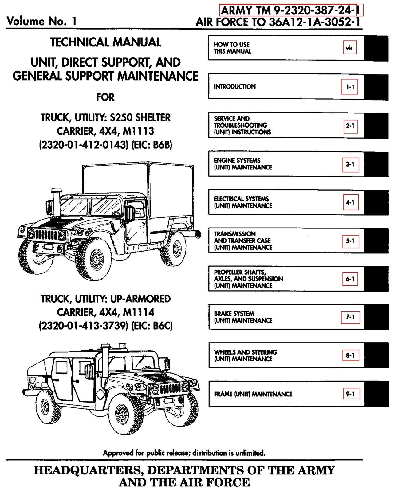 11 500 page m998 army hmmwv hummer humvee repair operator parts rh ebay com m1097 parts manual 24p M1097R1