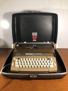 Smith Corona Coronet Automatic 12 Electric Typewriter w/ Case Tested Working Tan