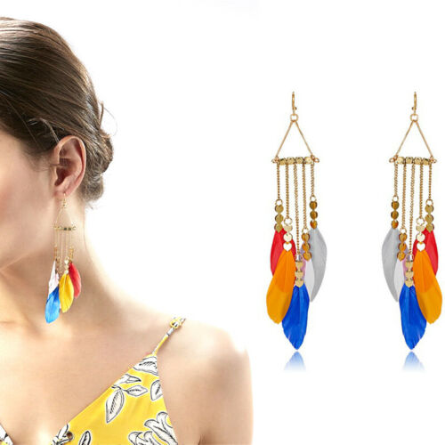 Fashion femmes Bohême Oreille Crochet Boucles d/'oreilles tassel Boho Plume Drop Dangle Bijoux