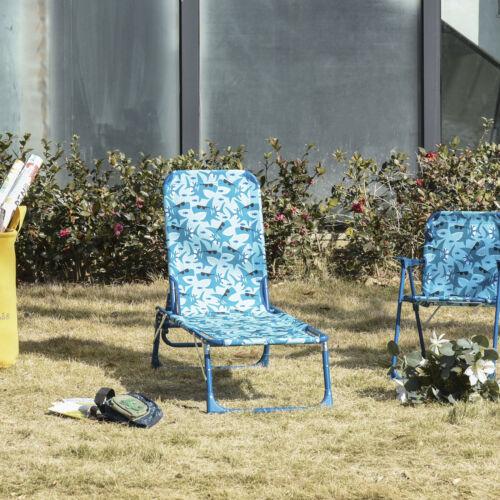 Outsunny Kids Reclining Folding Garden Zero Gravity Chairs Sun Lounger Blue