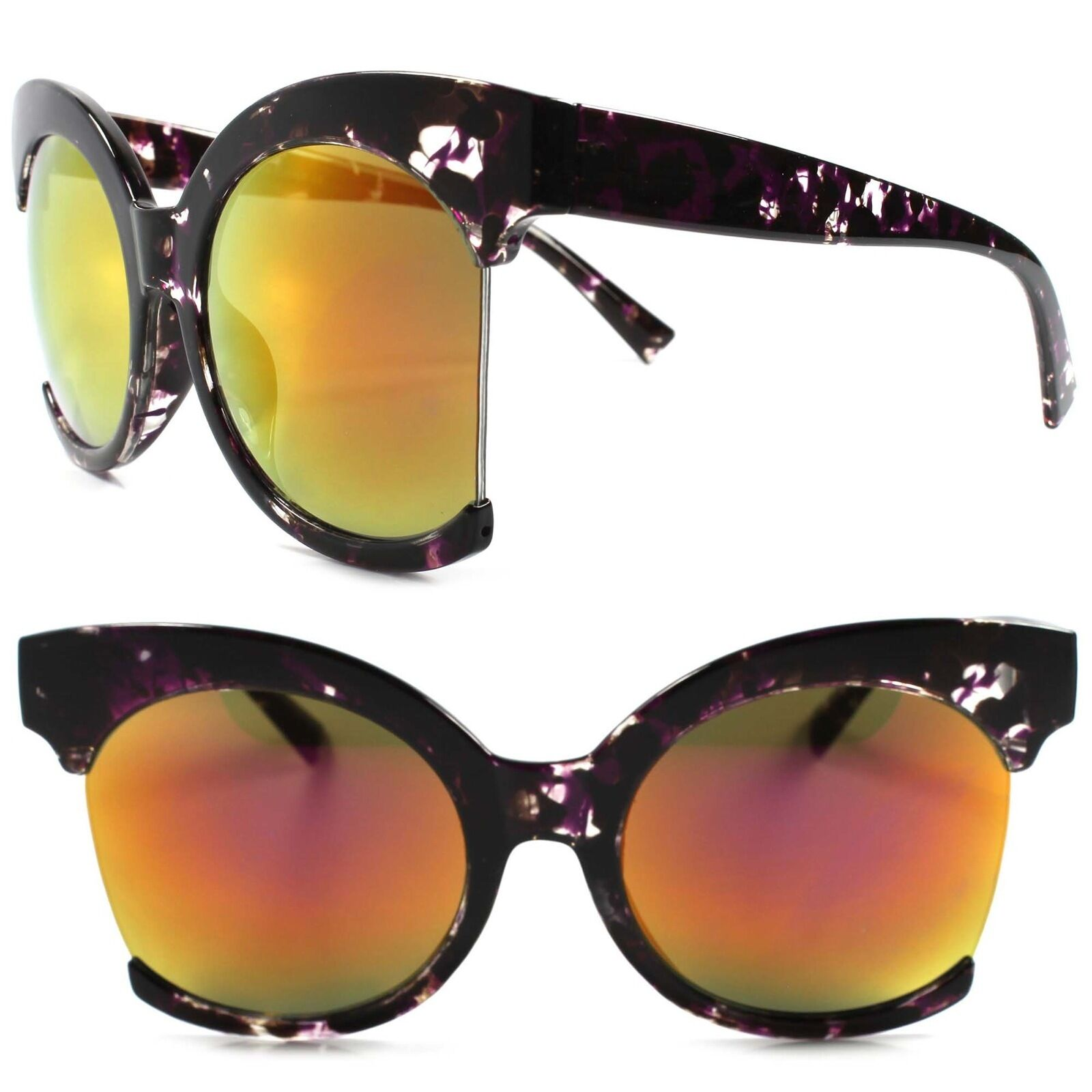 Classic Retro Fashion Womens Oversized Mirrored Round Lens Purple Sunglasses