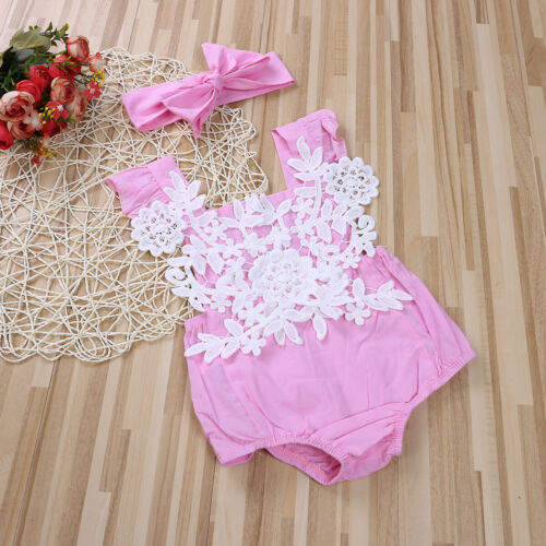 US Cute Pink Newborn Baby Girl Romper Lace Jumpsuit Headband Outfits Set Clothes