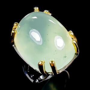 Vintage35ct-Natural-Prehnite-925-Sterling-Silver-Ring-Size-9-R119621