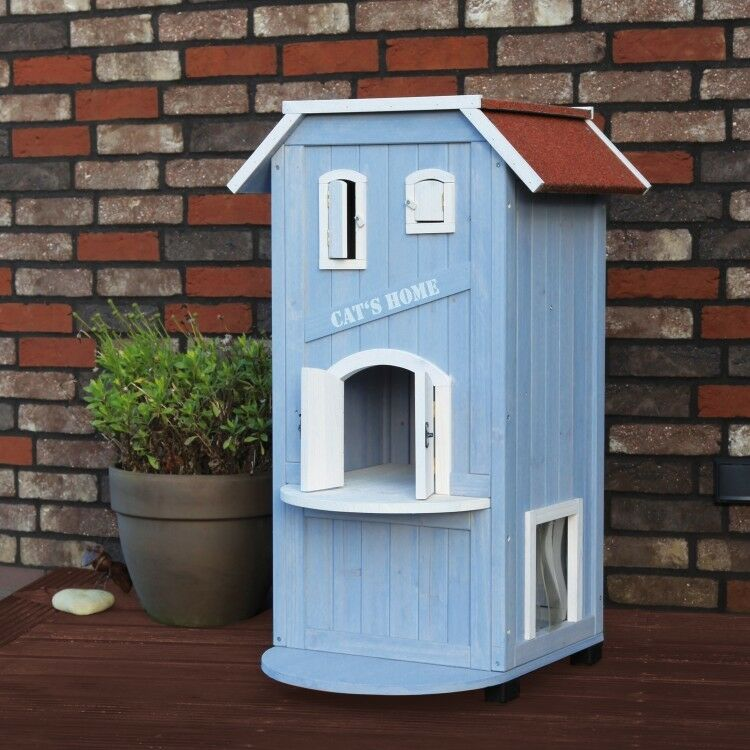 Cat House Condo 3 Story Indoor Outdoor Kitty Pet Wooden Perch Shelter Bed bluee