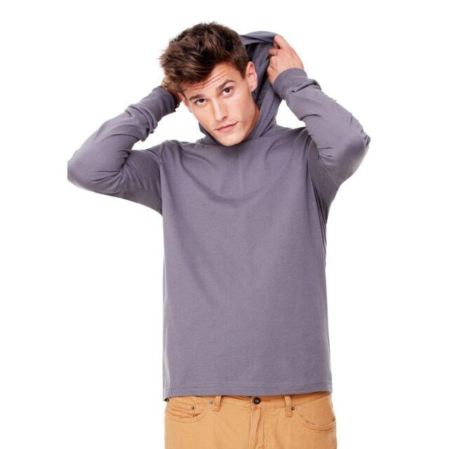 T-shirt Uomo manica lunga Unisex in jersey con cappuccio Puro cotone pettinato