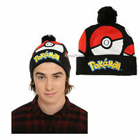 Pokemon Go Pokeball Embroidered Knit Fold Over Pom Adult Beanie Hat Nintendo