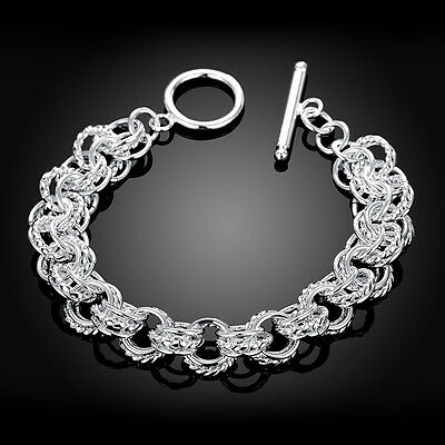 Women Jewelry Hollow Out Silver Plated Chain Cuff Bangle Party Wedding Bracelet