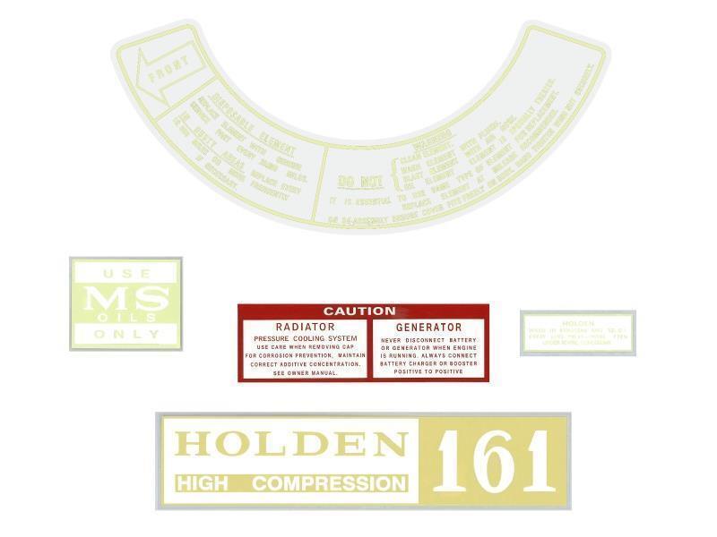 Oil Radiator Air Holden Engine Decal Kit Holden HR HK HT HG 161 Rocker