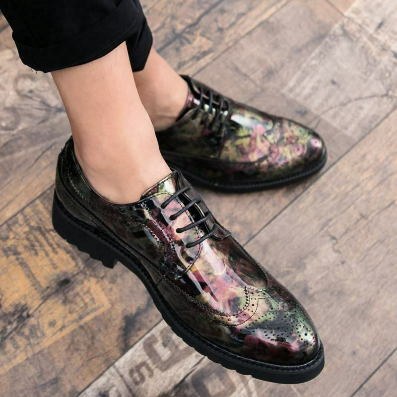 Spring Mens Camouflage Lace Up Wing Tips Carved Brogues British Comfort shoes