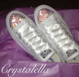 In With Laces Crystals Converse Ribbon Silk Swarovski And White dOqBwExBU