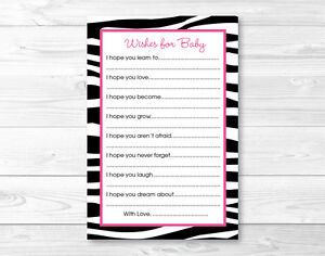 image is loading pink sassy zebra print printable baby shower wishes