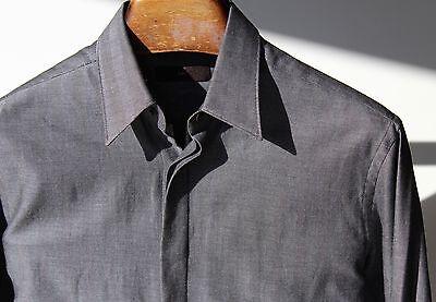 Ermenegildo Zegna 16/35 Gentleman's Grey Herringbone Long-Sleeve Shirt
