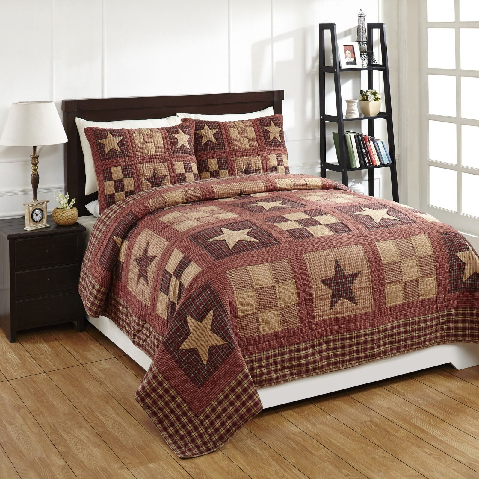 3 Piece QUEEN  BRADFORD STAR  Quilted Bedding SET  Country, Primitive