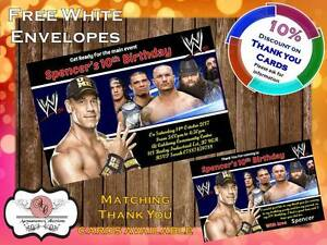10 X Personalised Wwe Wrestling Birthday Party Invites With