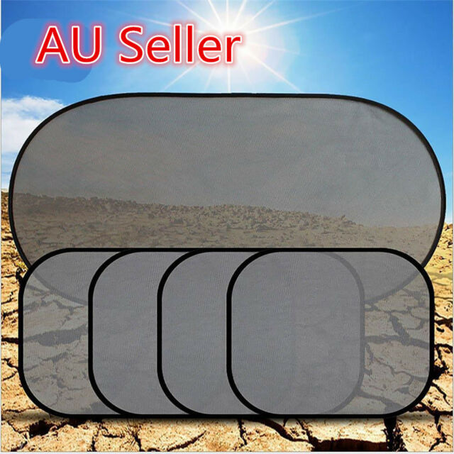 5Pcs Side Rear Window Screen Mesh Sunshade Sun Shade For Car UV Protection ON
