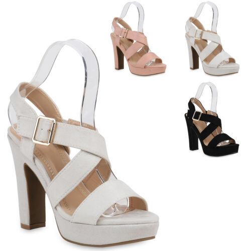 Damen Abiball Plateau Sandaletten Hochzeit Party High Heels 821333 Trendy Neu