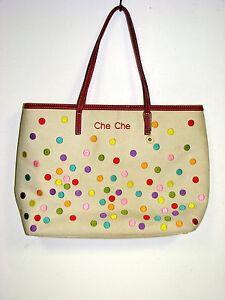 a3273e565dda Che Che New York Tote bag fun polka dot design 13x10.5x3.5 as is pre ...